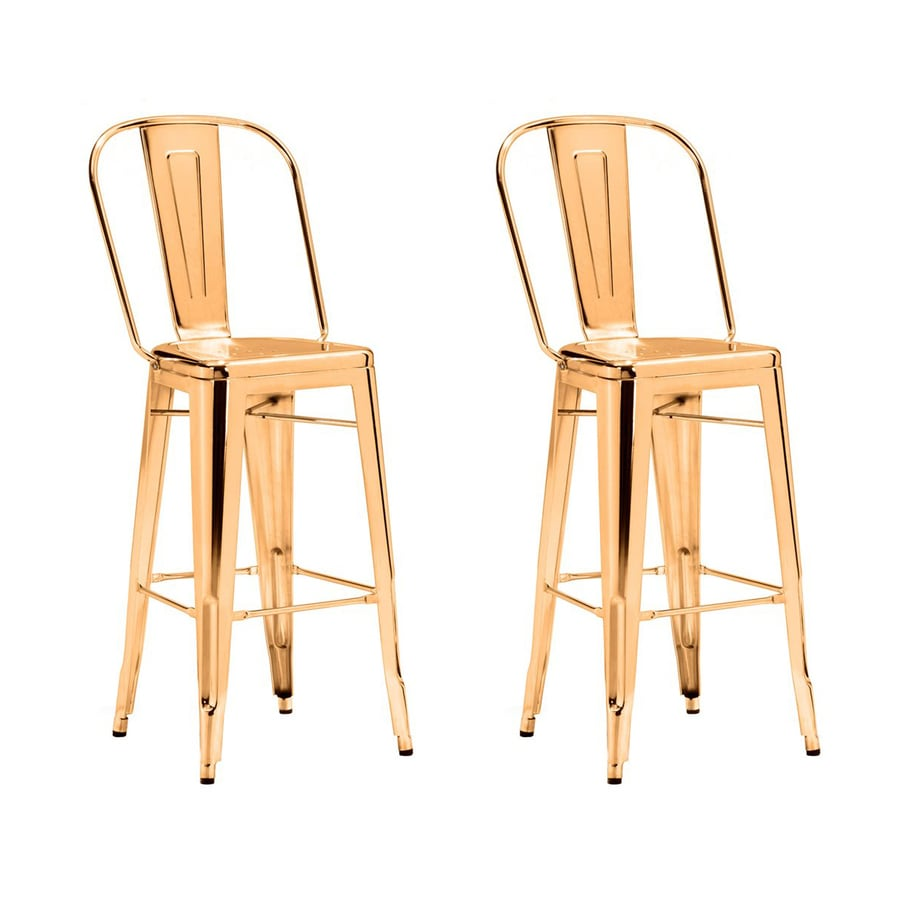 Zuo Modern Elio Set of 2 Industrial Gold Bar Stools