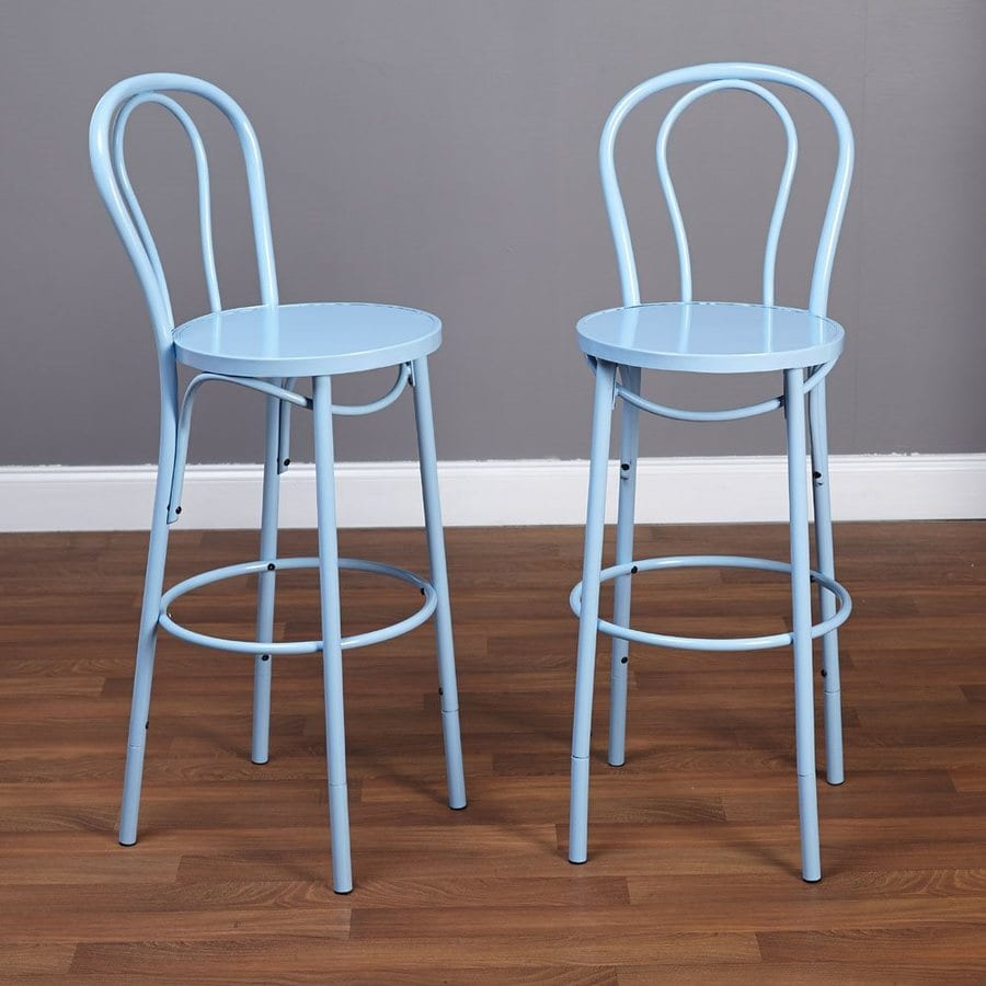 TMS Furniture Set of 2 Industrial Blue Adjustable Stool