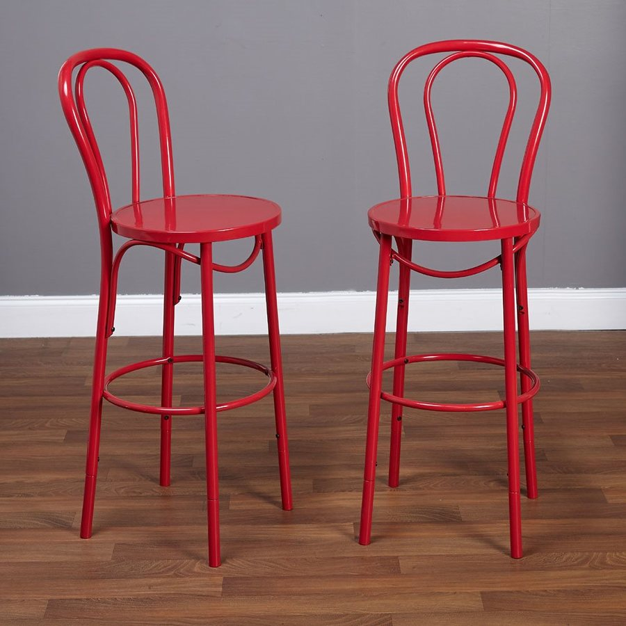 TMS Furniture Set of 2 Industrial Red Adjustable Stool