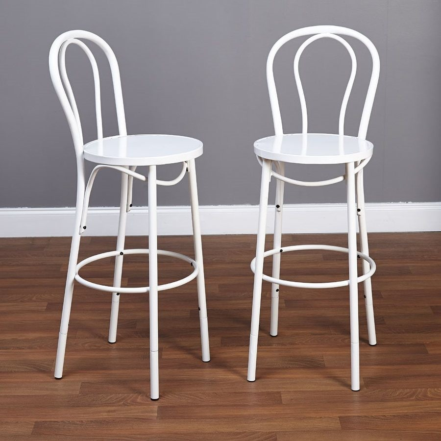 TMS Furniture Set of 2 Industrial White Adjustable Stool