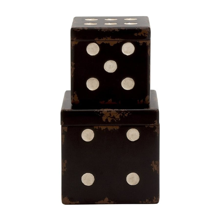 Woodland Imports Wood Box Dice Tabletop Decoration