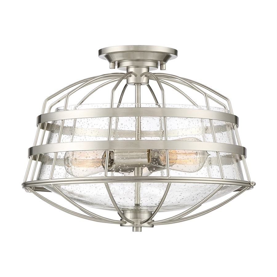 Quoizel Maritime 16-in W Brushed nickel Seeded Semi-Flush Mount Light