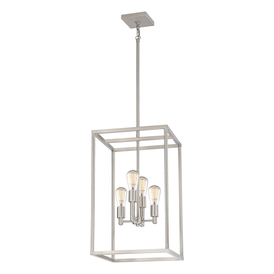 Quoizel New Harbor 14-in Brushed Nickel Industrial Multi-light Cage Pendant