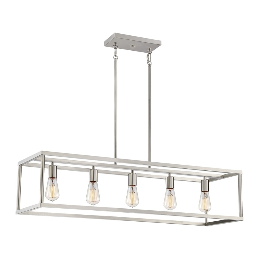 Quoizel New Harbor 38-in W 5-Light Brushed Nickel Kitchen Island Light with Shade