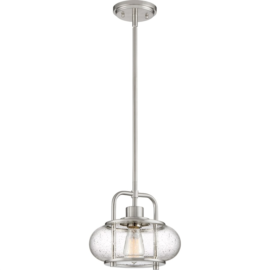 Quoizel Trilogy 10-in Brushed Nickel Industrial Single Seeded Glass Lantern Pendant