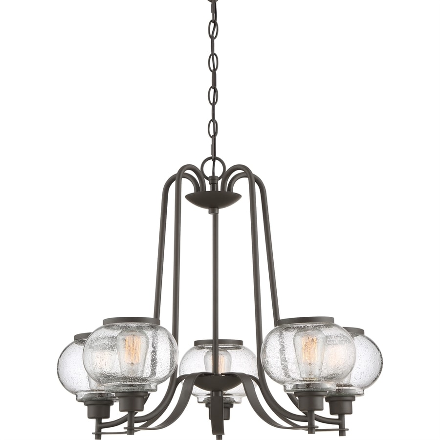 Quoizel Trilogy 26-in 5-Light Old bronze Vintage Seeded Glass Shaded Chandelier