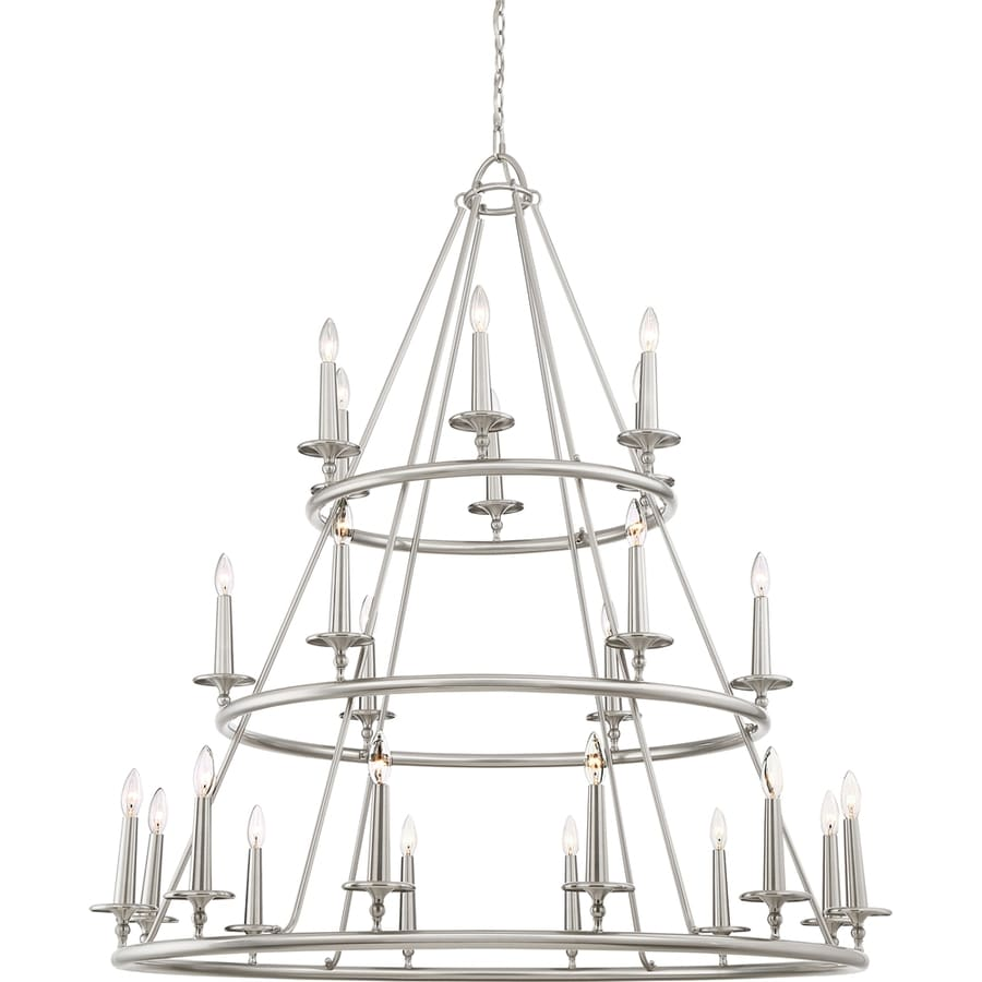 Quoizel Voyager 48-in 24-Light Brushed nickel Vintage Candle Chandelier