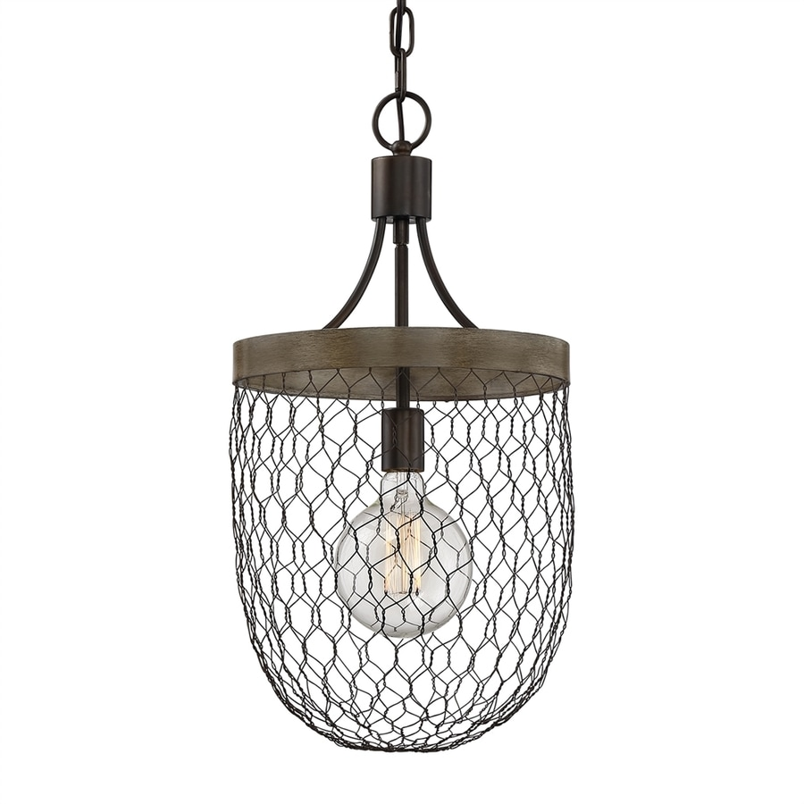 Quoizel Willowstone 12-in Classic gray Industrial Single Cage Pendant
