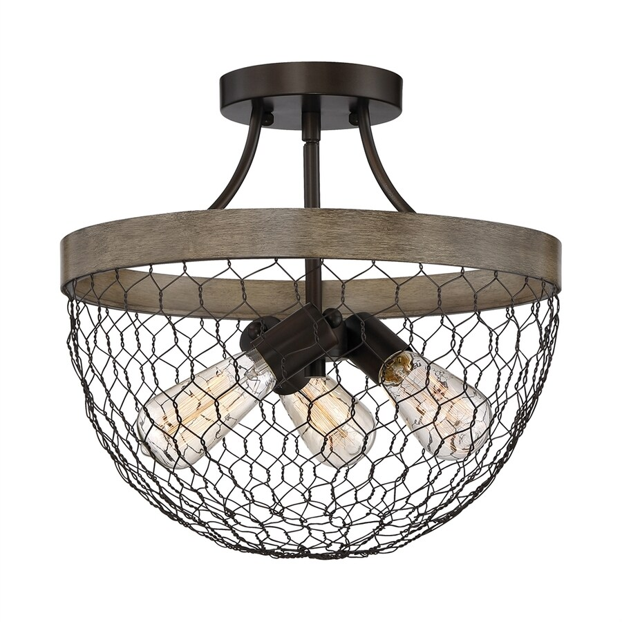 Quoizel Willowstone 15-in W Classic Gray Metal Semi-Flush Mount Light