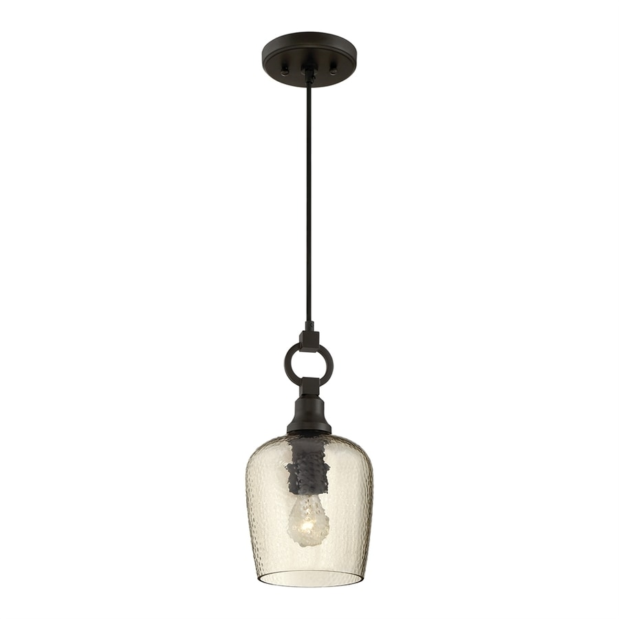Quoizel Kendrick 7-in Western Bronze Industrial Mini Tinted Glass Dome Pendant