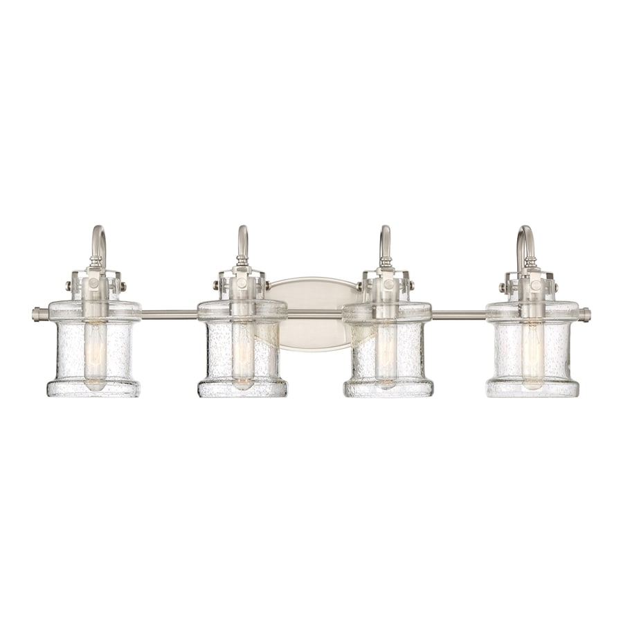 bathroom lighting brushed nickel shop quoizel danbury 4 light 32 in brushed nickel cylinder 16125