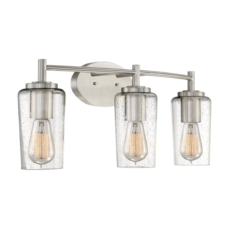 Quoizel Edison 3-Light 10-in Brushed nickel Cylinder Vanity Light