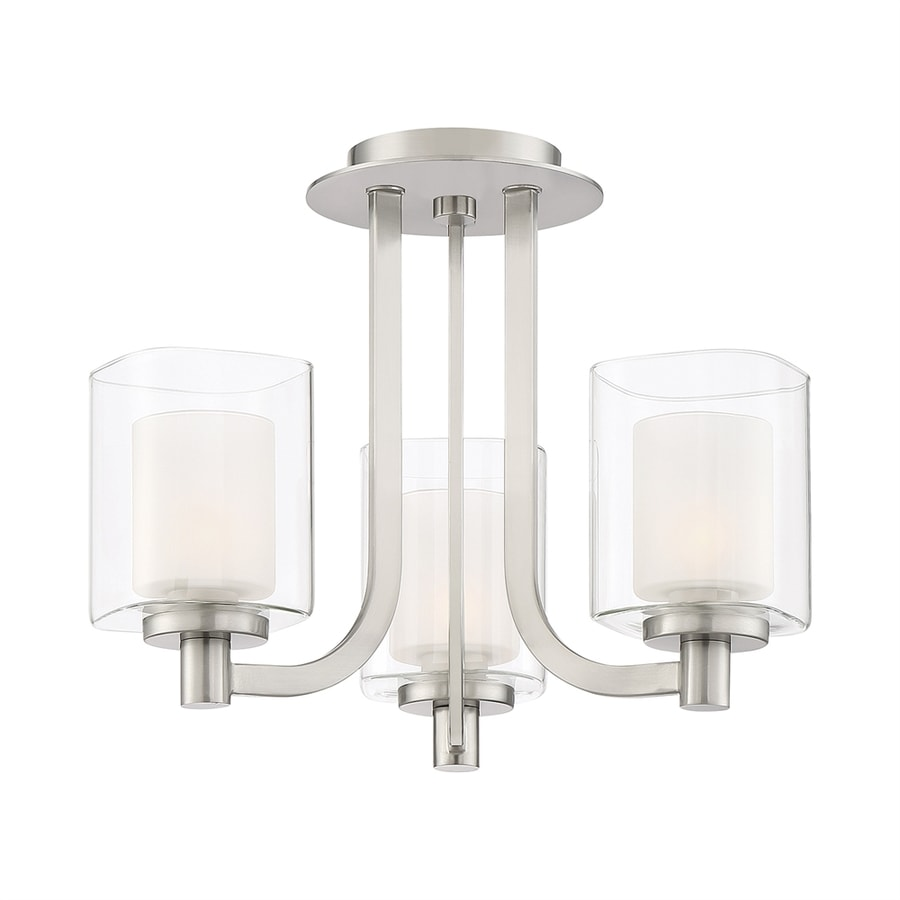 Quoizel Kolt 15-in W Brushed Nickel Clear Glass Semi-Flush Mount Light