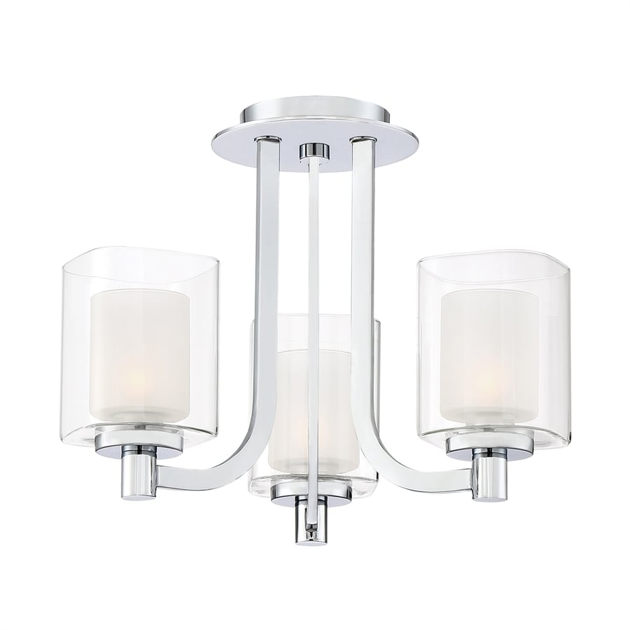 Quoizel Kolt 15-in W Polished chrome Clear Glass Semi-Flush Mount Light