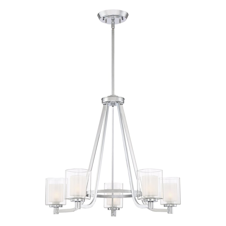 Quoizel Kolt 26-in 5-Light Polished Chrome Clear Glass Shaded Chandelier