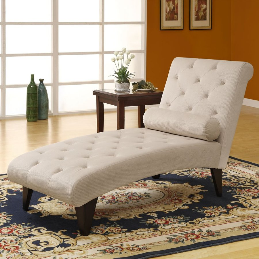 Monarch Specialties Midcentury Taupe Velvet Chaise Lounge