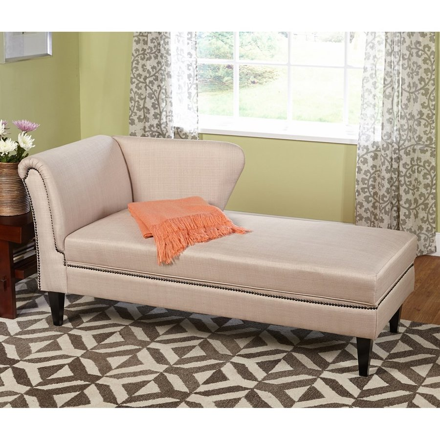 TMS Furniture Jaz Midcentury Beige Linen Chaise Lounge