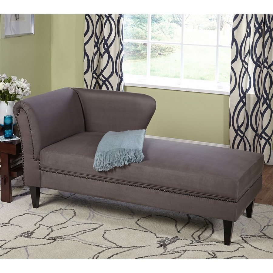 TMS Furniture Jaz Midcentury Gray Linen Chaise Lounge