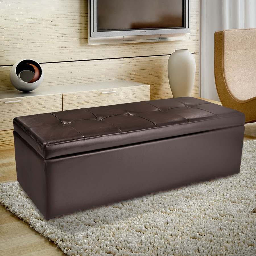 Best Selling Home Decor Abigail Brown Faux Leather Rectangular Storage Ottoman