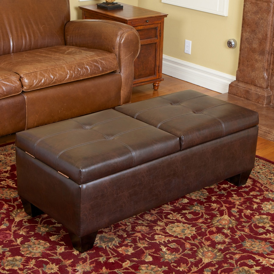 Best Selling Home Decor Merrill Chocolate Brown Faux Leather Rectangular Storage Ottoman