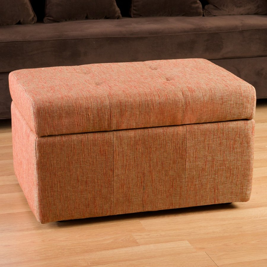 Best Selling Home Decor Rosetta Passion Orange Polyester Rectangular Storage Ottoman