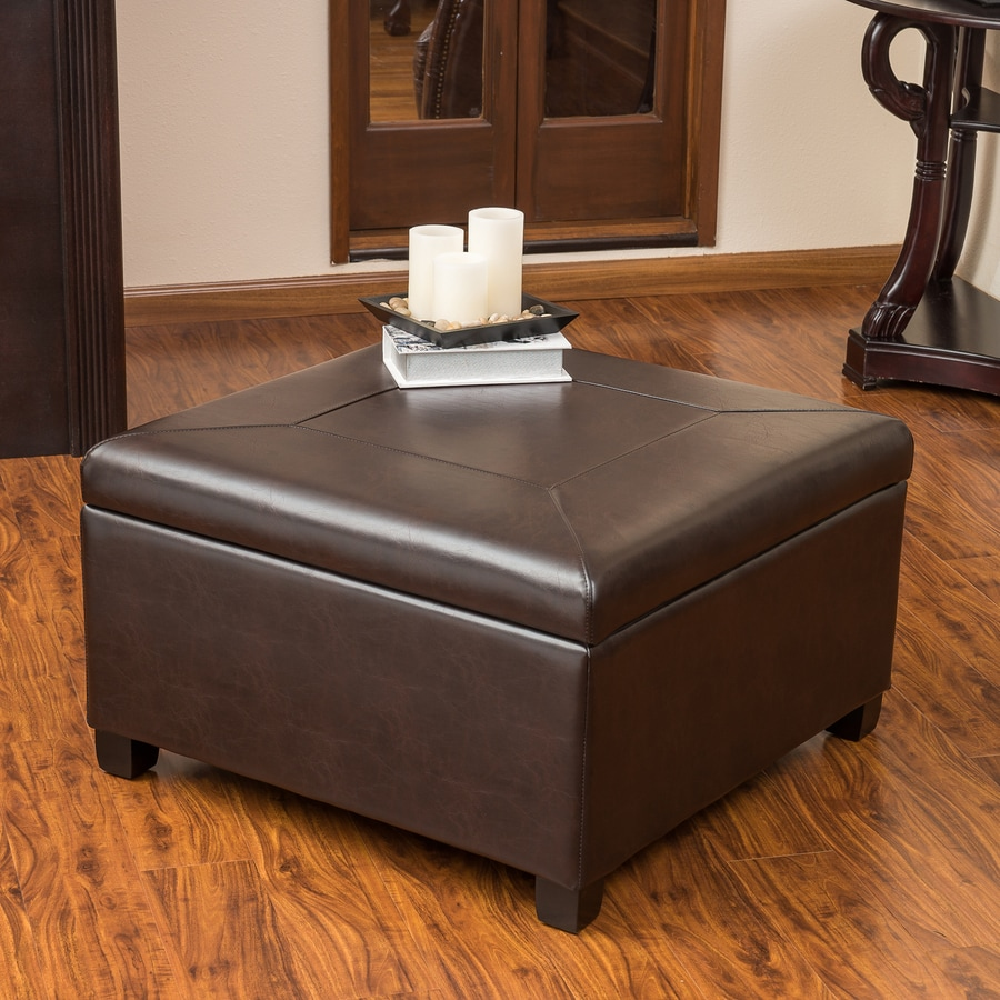 Best Selling Home Decor Sandra Brown Faux Leather Square Storage Ottoman
