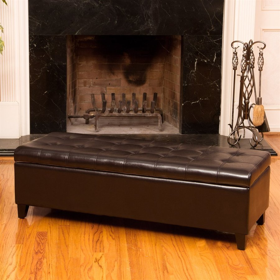 Best Selling Home Decor Sheffield Brown Faux Leather Rectangular Storage Ottoman