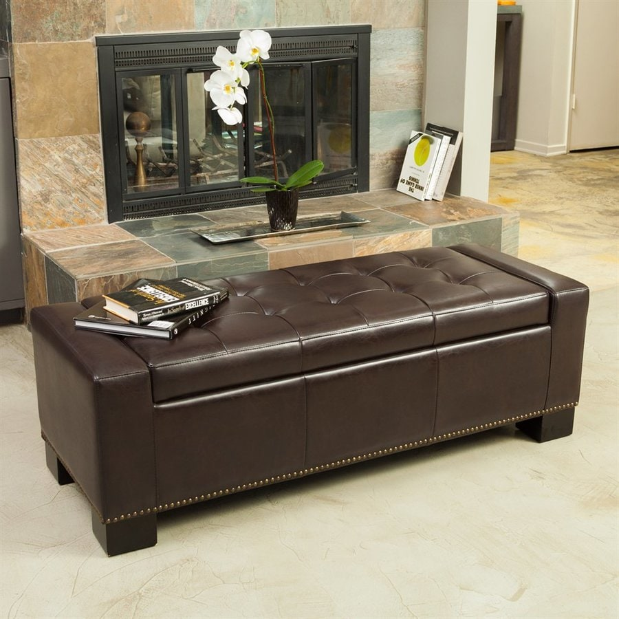 Best Ing Home Decor Explorer Chocolate Brown Faux Leather Rectangular Storage Ottoman