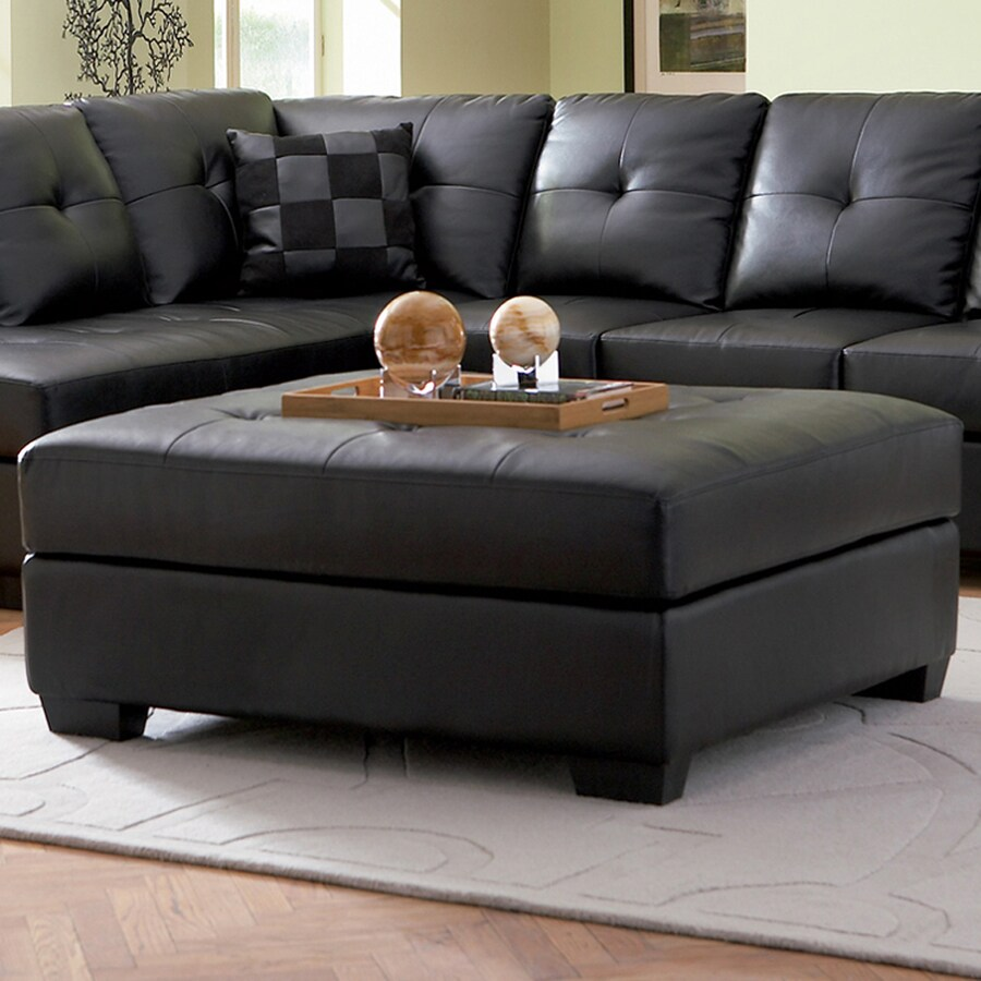 Coaster Fine Furniture Darie Casual Black Faux Leather Ottoman