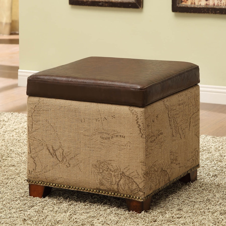 Armen Living Vintage Casual Antique Brown Faux Leather Square Storage Ottoman