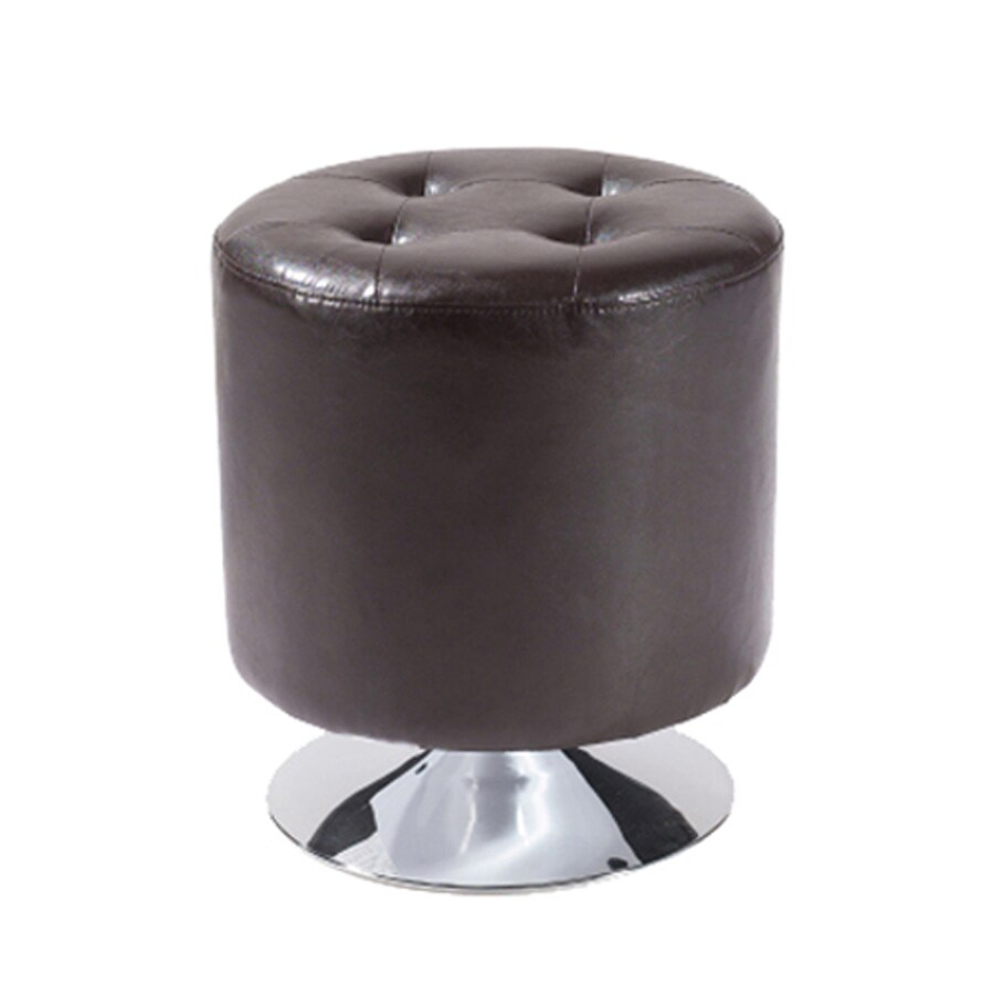 Armen Living Ruby Casual Brown Faux Leather Round Ottoman