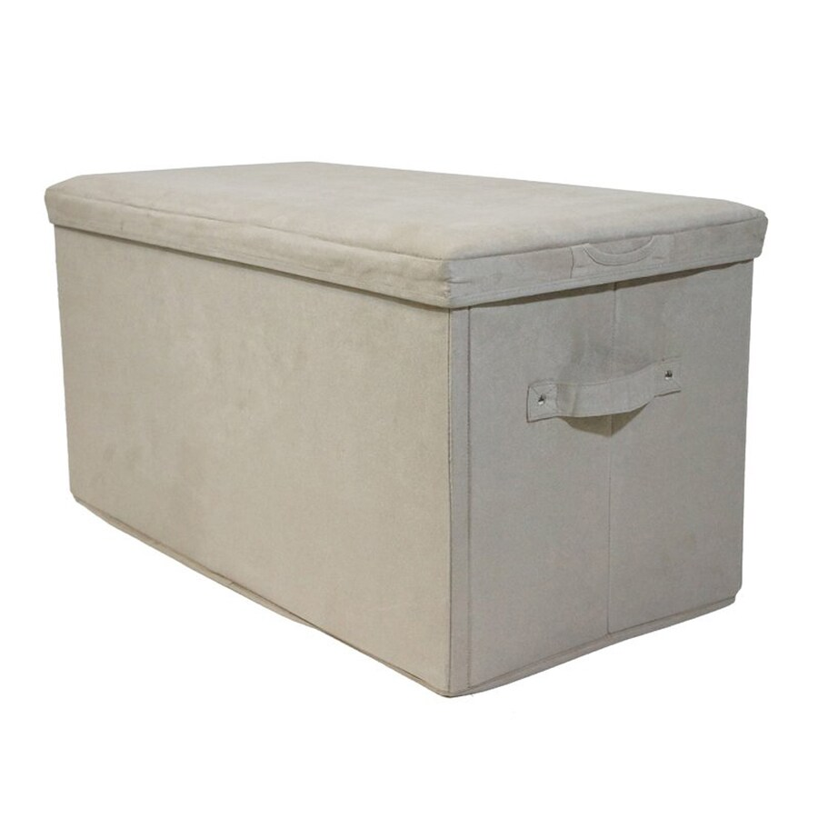 Casual Home Casual Beige Microsuede Rectangle Storage Ottoman