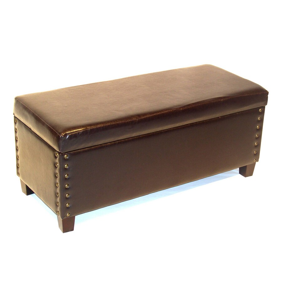 4D Concepts Virginia Casual Brown Faux Leather Rectangle Storage Ottoman