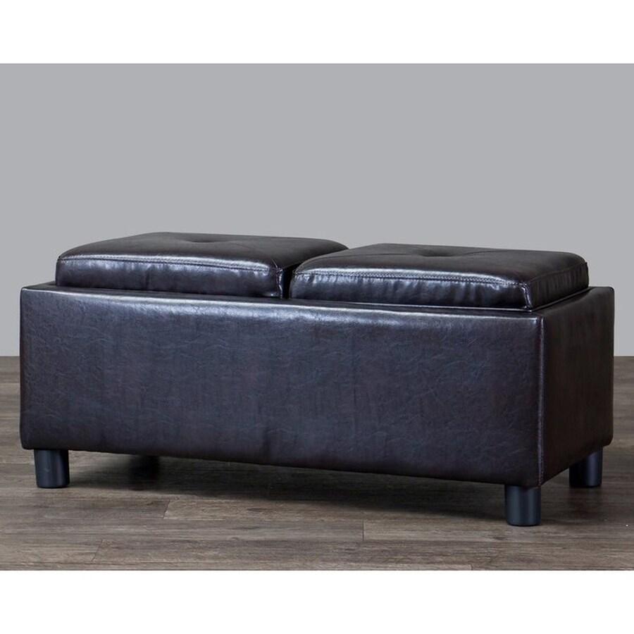 Baxton Studio Billiard Modern Dark Brown Faux Leather Rectangle Storage Ottoman