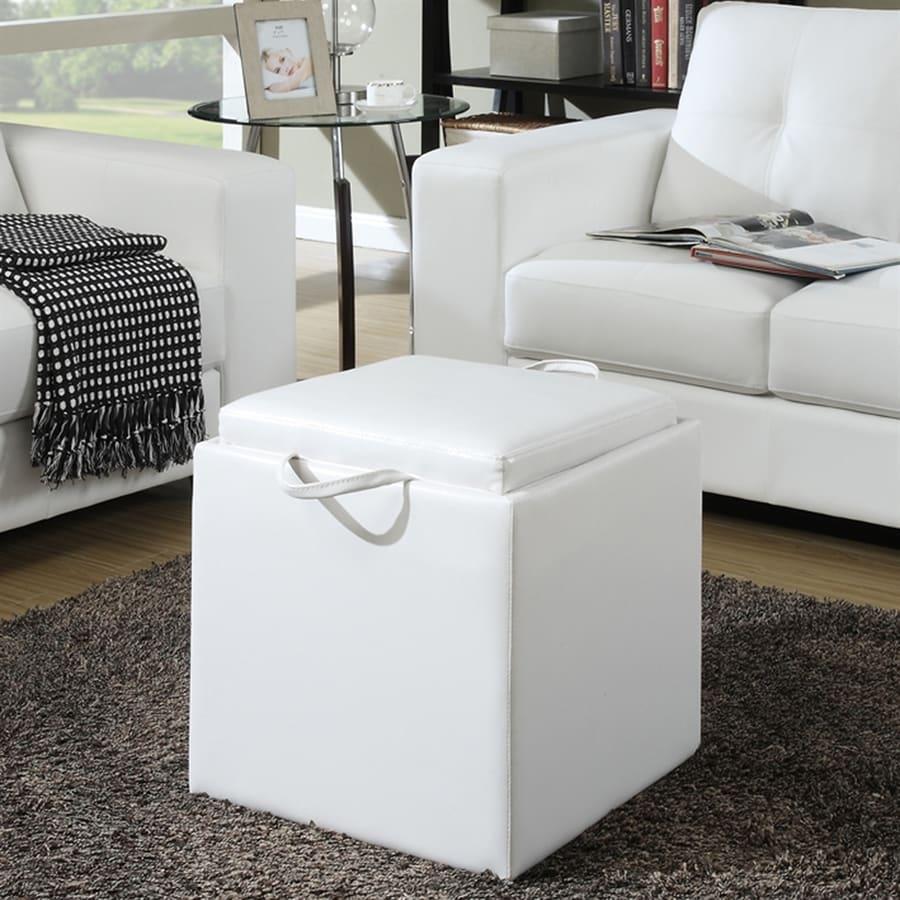 Convenience Concepts Park Avenue Casual White Faux Leather Storage Ottoman