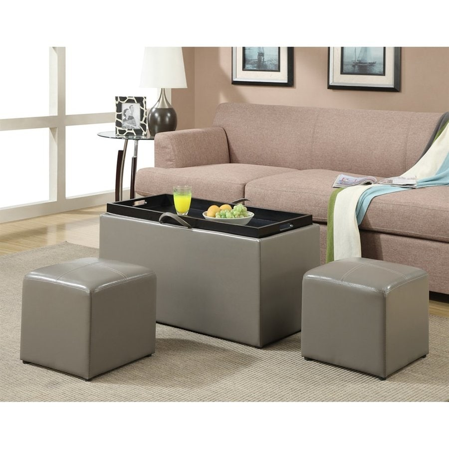 Convenience Concepts Sheridan Casual Gray Faux Leather Storage Ottoman