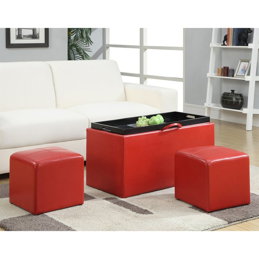 Convenience concepts sheridan casual red faux leather storage ottoman