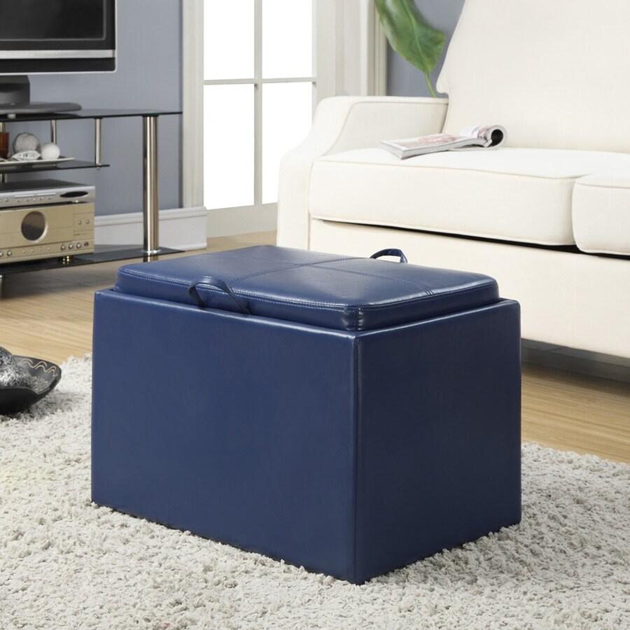Convenience Concepts Accent Casual Blue Faux Leather Storage Ottoman