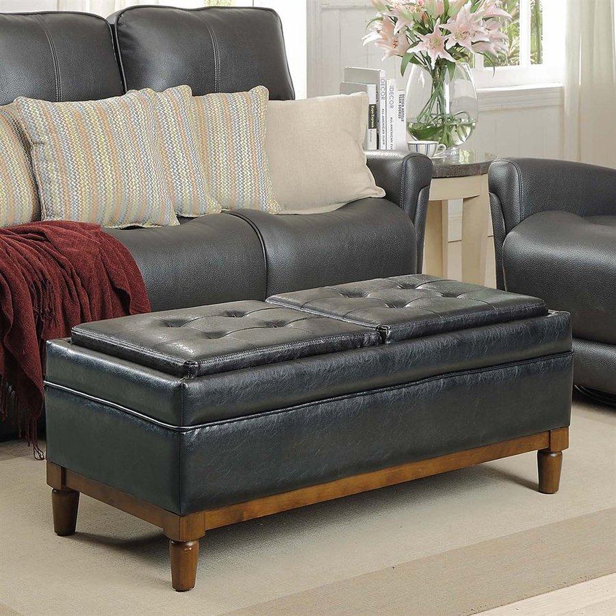 Convenience Concepts Sutton Place Casual Black Faux Leather Storage Ottoman