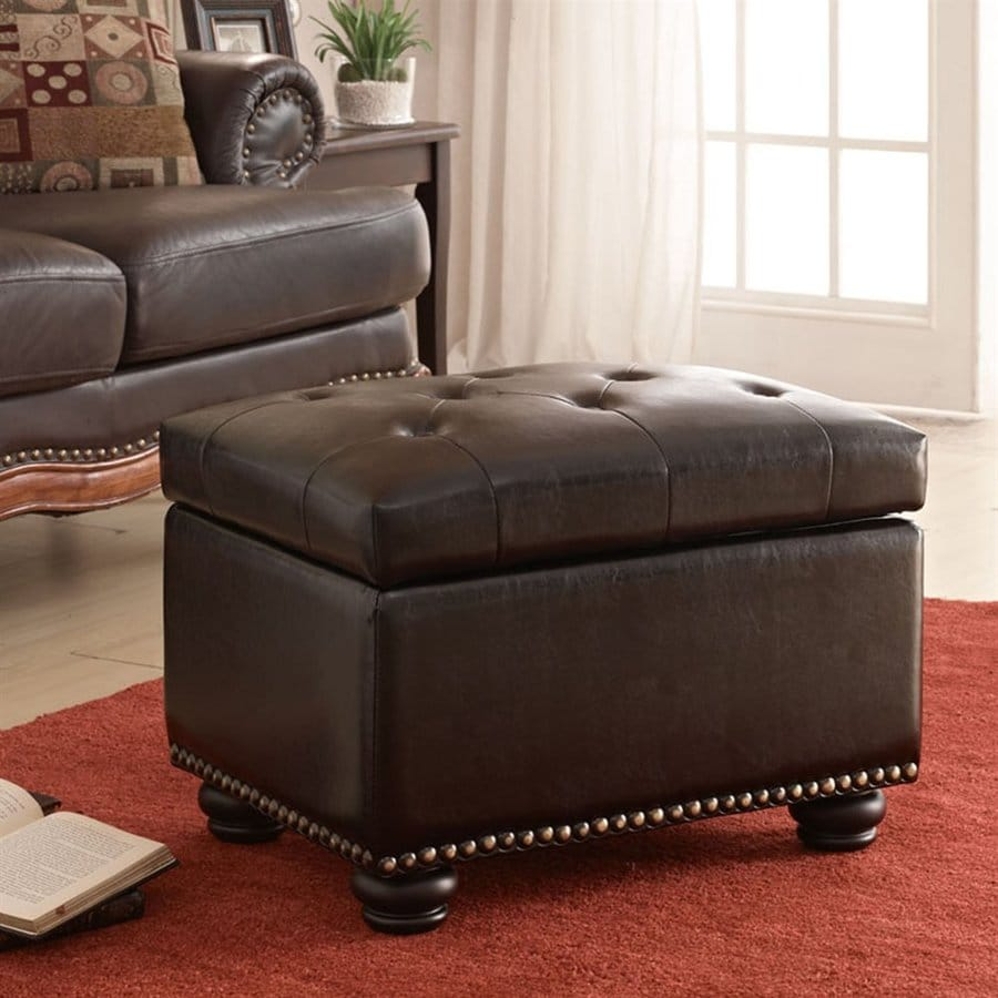 Convenience Concepts 5th Avenue Casual Espresso Faux Leather Storage Ottoman