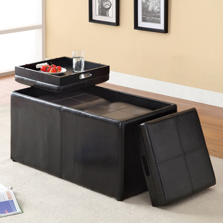 Furniture of America Visp Casual Espresso Faux Leather Storage Ottoman