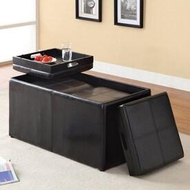 furniture of america visp casual espresso faux leather storage ottoman - Black Storage Ottoman