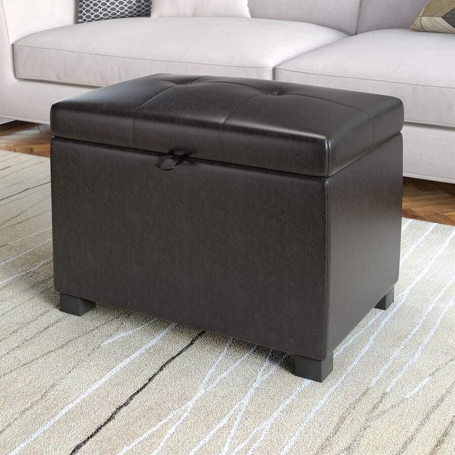 Shop CorLiving Antonio Casual Black Faux Leather Storage Ottoman at
