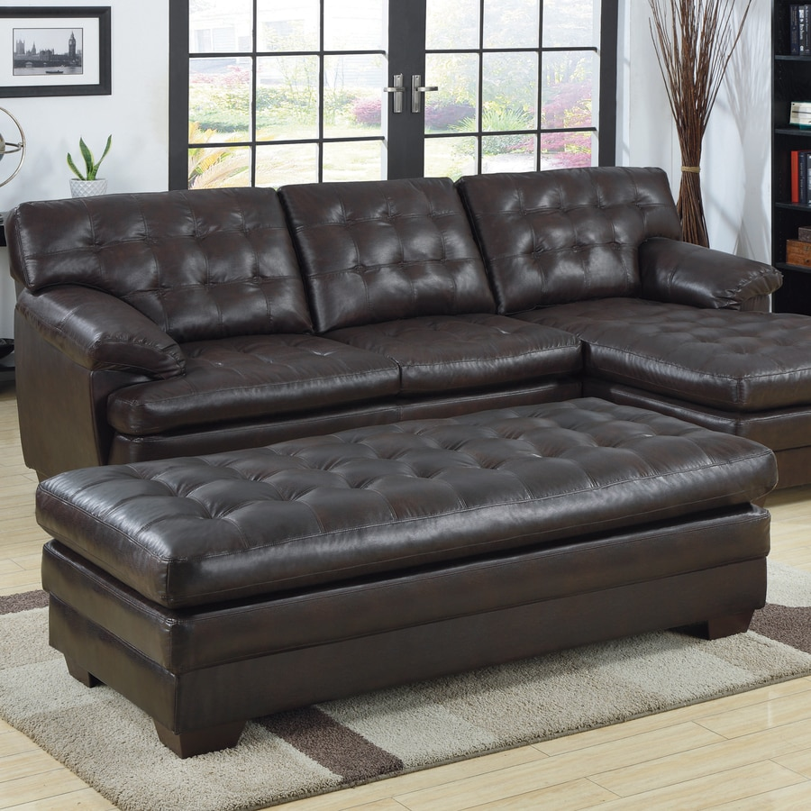 Homelegance Brooks Casual Dark Brown Faux Leather Ottoman