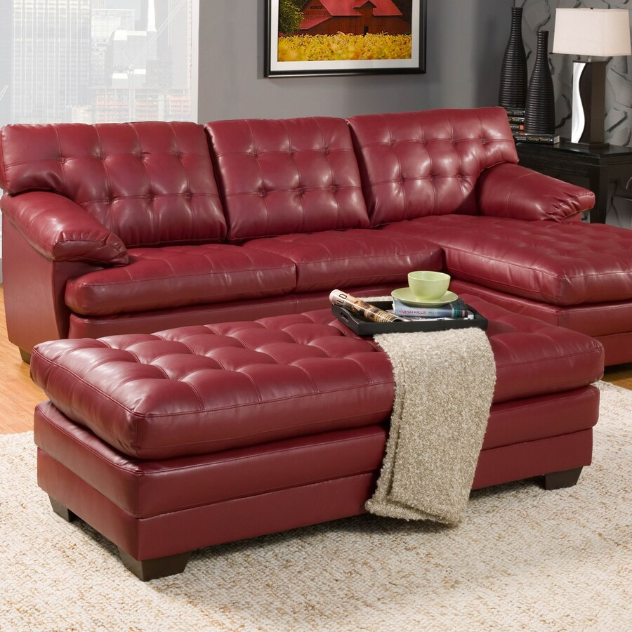 Homelegance Brooks Casual Red Faux Leather Ottoman