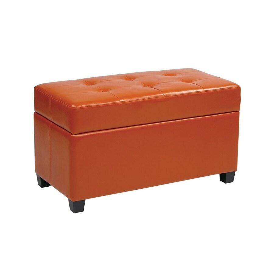 Office Star Casual Orange Vinyl Storage Ottoman