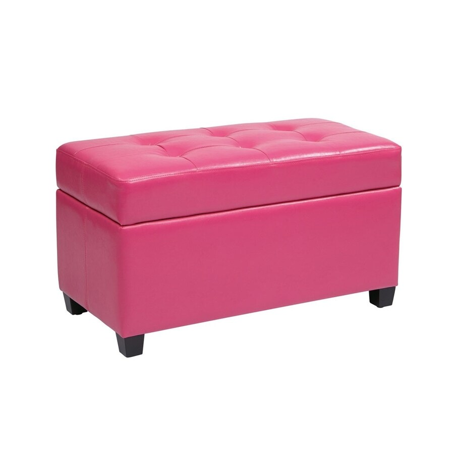Office Star Casual Pink Vinyl Storage Ottoman