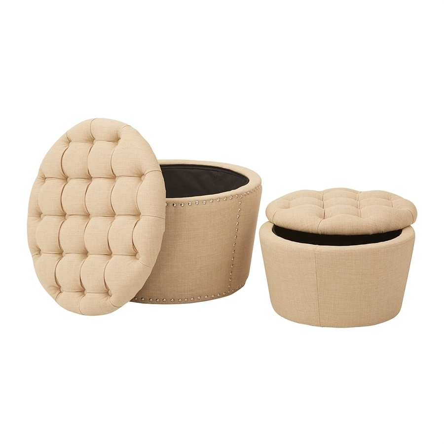 Office Star Lacey Casual Maize Round Storage Ottoman