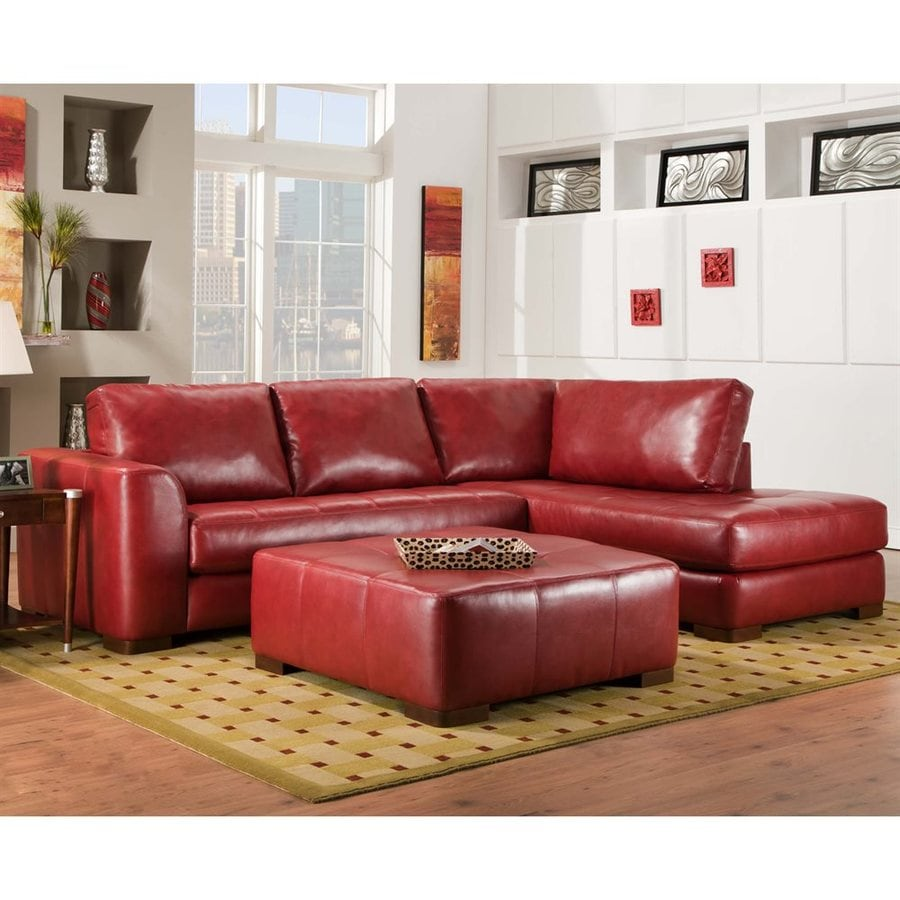 Chelsea Home M Casual Como Bold Red Faux Leather Sectional