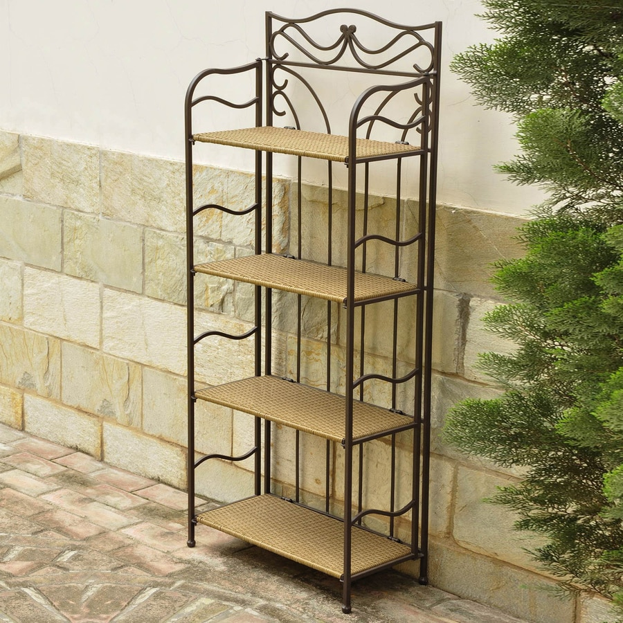 International Caravan Valencia 55-in Honey Outdoor Rectangular Wicker Plant Stand